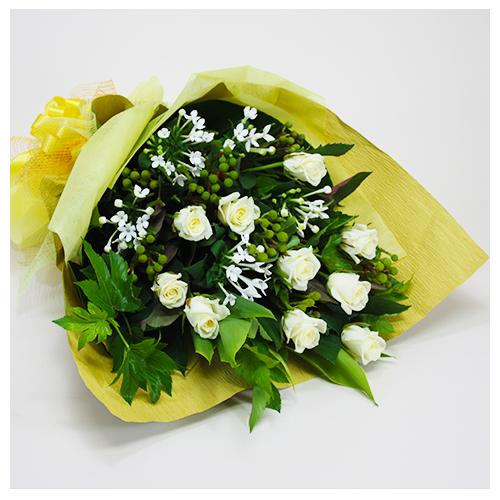 白・グリーンのお任せ花束