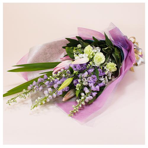 紫系のお任せ花束
