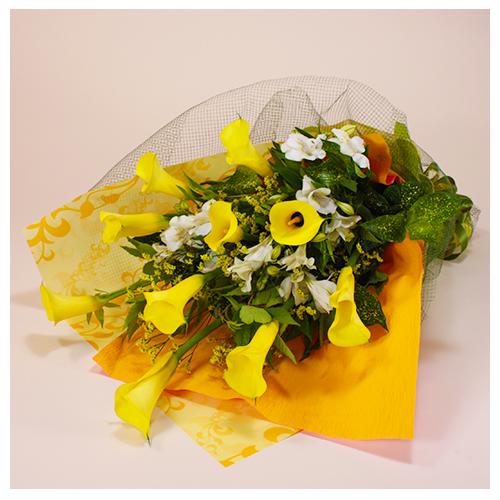 黄色系のお任せ花束