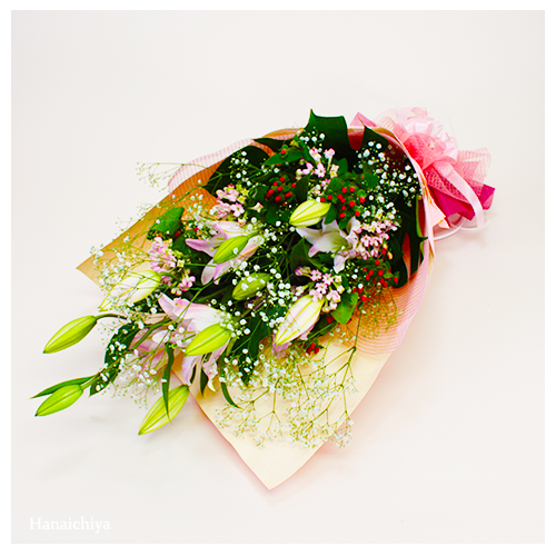 ユリがメインの花束
